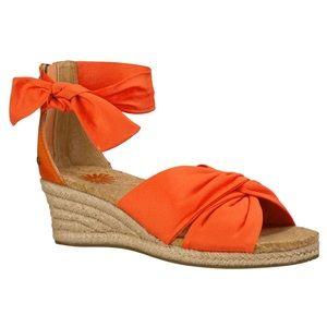 UGG Australia Starla Orange Leather Wedge Sandals